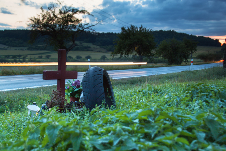low angle view of a roadside memorial at dusk