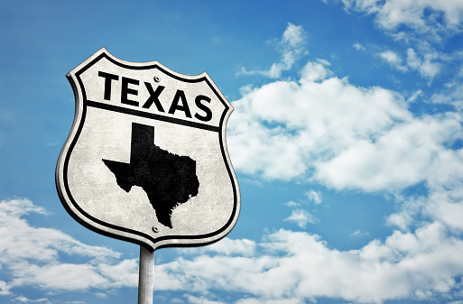 Route 66 Texas map roadsign